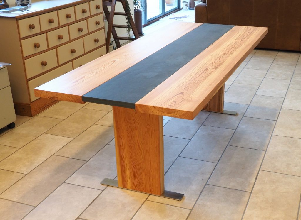 Dining table made from pitch pine and slate